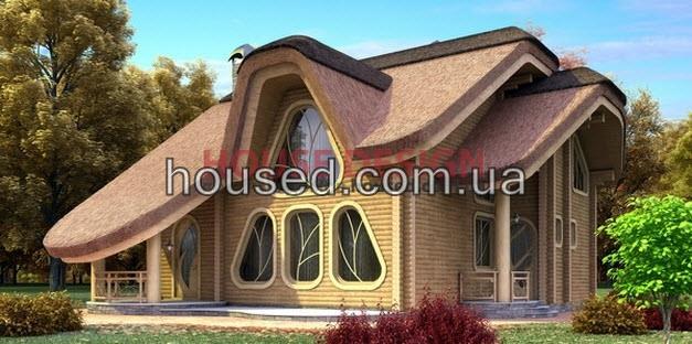 Проект дома № 14203 с камышовой (соломенной) крышей